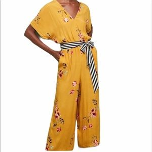 Anthropologie mustard floral jumpsuit xs